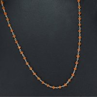 Spring-Ring hook, 925 Sterling Silver, Rolo-chain, Beaded Orange Jaipur Rajasthan India Carnelian Necklace