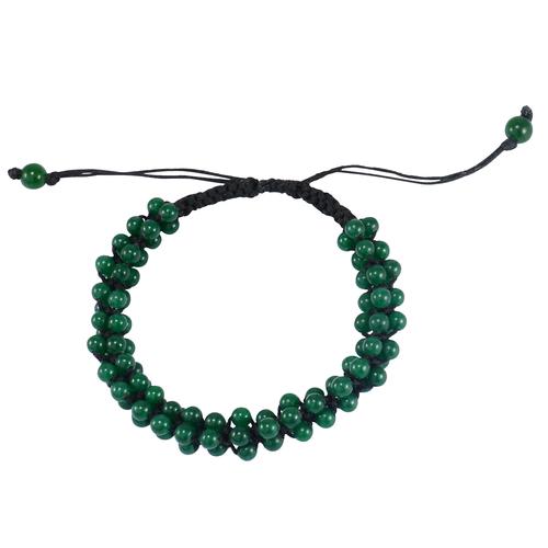 Round Beaded Handmade Jewelry Manufacturer Green Onyx Adjustable Jaipur Rajasthan India Bracelet With Black Cord