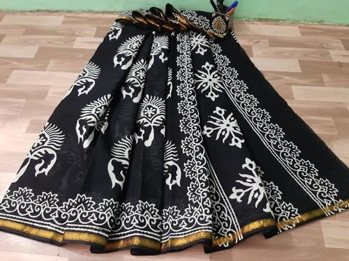 Printed Cotton Mulmul Gold Zari Bordar Saree