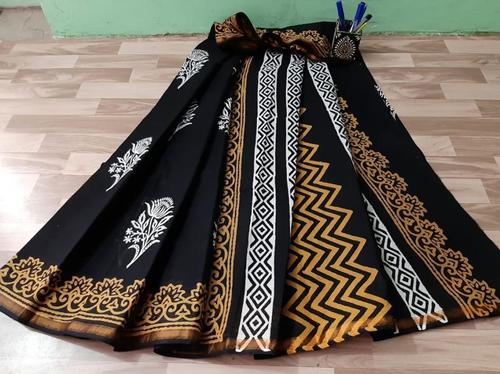 Cotton Hand Block Printed Mulmul Gold Zari Bordar Saree