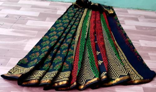 Hand Block Printed Cotton Mulmul Gold Zari Bordar Saree