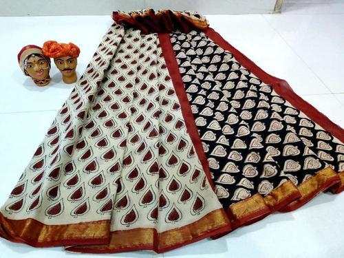 Cotton Block Printed Mulmul Gold Zari Bordar Saree