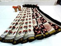 Hand Block Printed Mulmul Saree Gold Zari Bordar