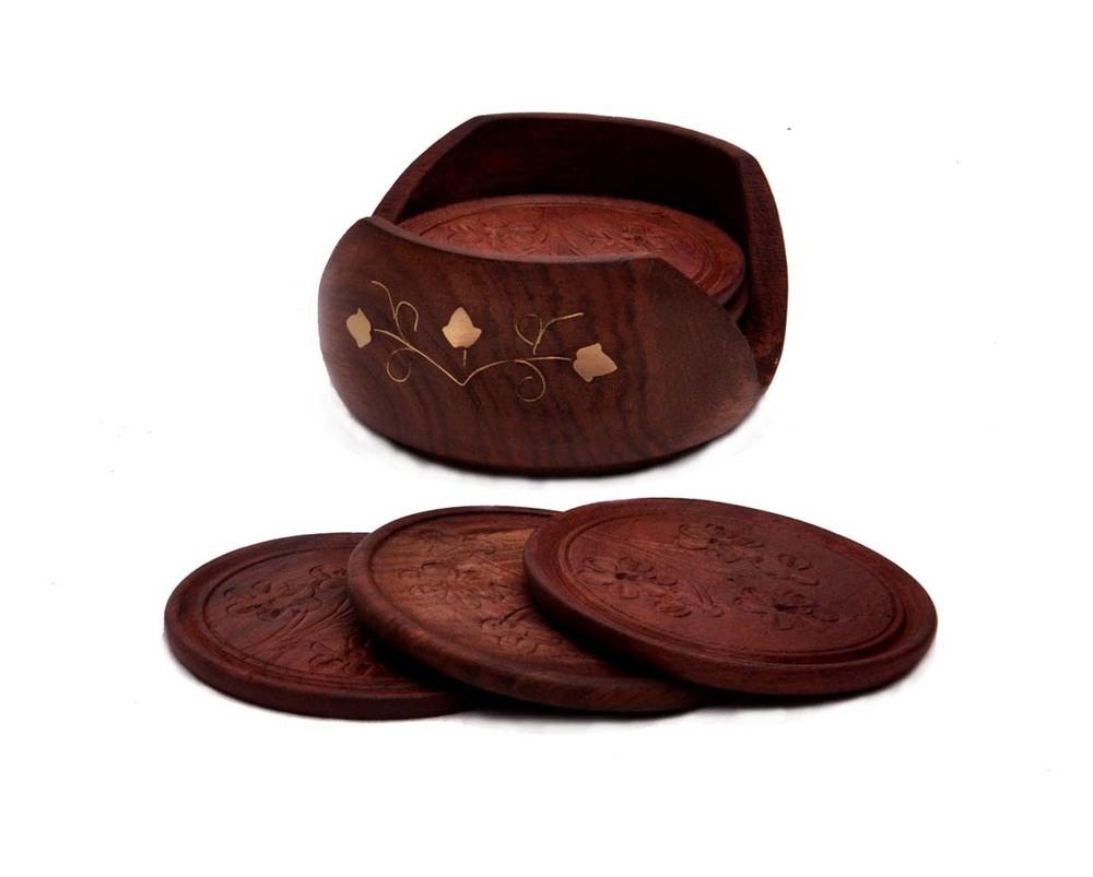 Retro Wood Coaster Set with 6