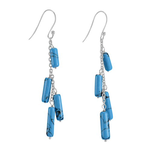 Blue Turquoise, Handmade Jewelry Manufacturer 925 Sterling Silver, Rolo-chain Jaipur Rajasthan India Dangle Earring