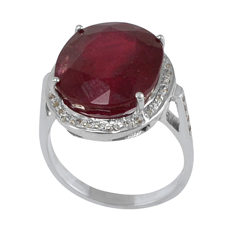 Ruby Handmade Jewelry Manufacturer 925 Sterling Silver 4 Prong Setting Cathedral shank Jaipur Rajasthan India Ring