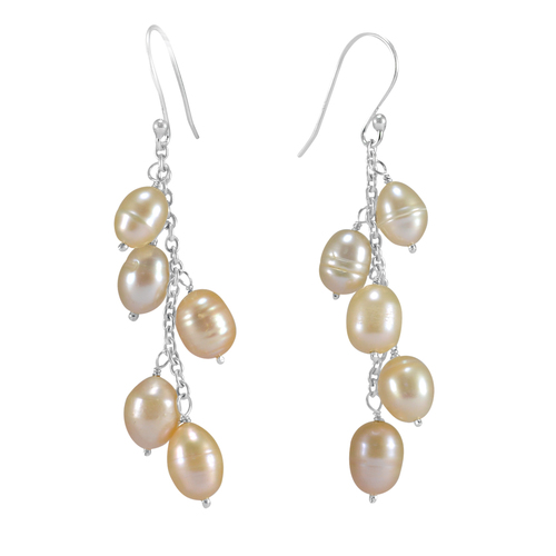Beaded Off-white Pearl, Handmade Jewelry Manufacturer 925 Sterling Silver, Jaipur Rajasthan India Rolo-Chain Dangle Earring