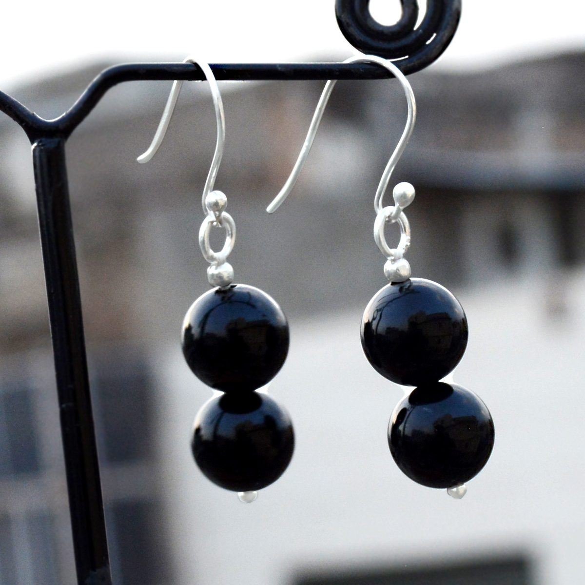Handmade Jewelry Manufacturer 10mm Round 2 Stone Black Onyx, 925 Sterling Silver, Dangle Earring Jaipur Rajasthan India