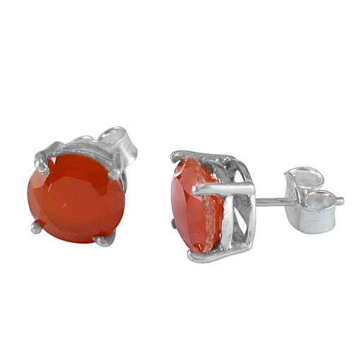 925 Sterling Silver Handmade Jewelry Manufacturer 4 Prong Setting Round Orange Carnelian Jaipur Rajasthan India Stud Earring