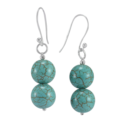 2 Stone Set, 925 Sterling Silver, Handmade Jewelry Manufacturer  Blue-Turquoise, Dangle Earring Jaipur Rajasthan India