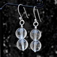 10mm Beads Crystal Quartz, Handmade Jewelry Manufacturer 925 Sterling Silver, Fish-hook Dangle Earring Jaipur Rajasthan India