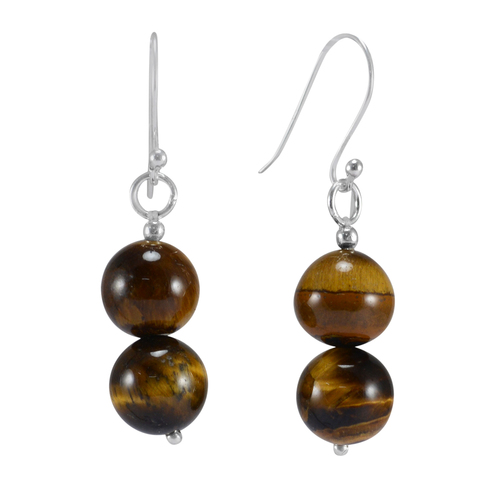 Round 2 Set Handmade Jewelry Manufacturer Tiger Eye, 925 Sterling Silver, Dangle Earring Jaipur Rajasthan India