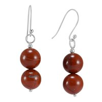 925 Sterling Silver, Handmade Jewelry Manufacturer Round 2 Stone Red Jasper, Dangle Earring Jaipur Rajasthan India