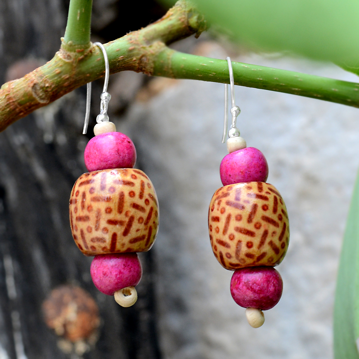 Handmade Jewelry Manufacturer 925 Sterling Silver, Brown & Pink Painted wooden Dangle Earring Jaipur Rajasthan India