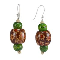 Handmade Jewelry Manufacturer Flower Printed Wooden & Green Color Wood Art Painting Jewelry, 925 Sterling Silver Earring Jaipur Rajasthan India