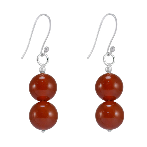 Handmade Jewelry Manufacturer 10mm Beaded Carnelian- Jaipur Rajasthan India 925 Sterling Silver- Fish-hook Dangle Simple Earring