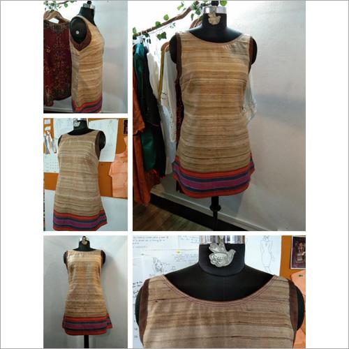 Tassar Silk Tunic  with boat neck line