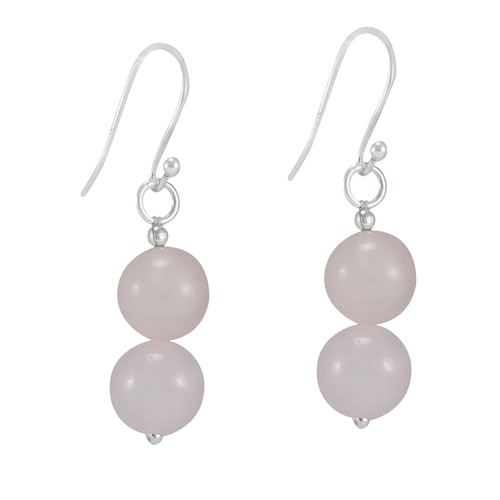 Jaipur Rajasthan India Beaded Rose Quartz Sphere With Handmade Jewelry Manufacturer 925 Sterling Silver Dangle Small Earring