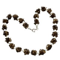 Handmade Jewelry Manufacturer Beaded Smoky Quartz & Pearl 925 Sterling Silver Beading Pattern Chips Necklace Jaipur Rajasthan India