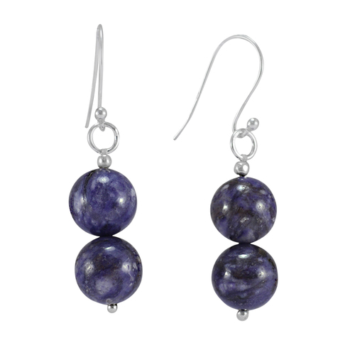 Purple Earring - Charoite Gemstone Jewelry - Handmade Manufacturer 925 Sterling Silver- Beaded Pierced Jaipur Rajasthan India