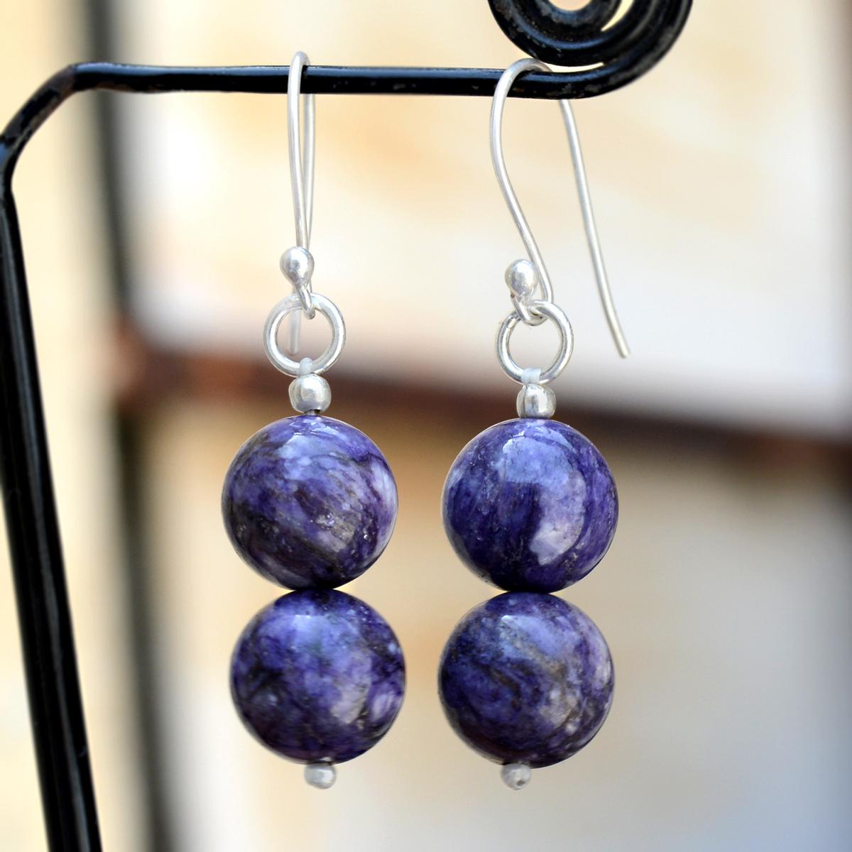 Purple Earring - Charoite Gemstone Jewelry - Handmade Manufacturer 925 Sterling Silver- Beaded Pierced Jaipur Rajasthan India