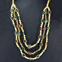 Handmade Jewelry Manufacturer Multi Agate Gemstone 925 Sterling Silver Necklace , Beaded Agate Necklace - 3 Line With Yellow Cord Jaipur Rajasthan India