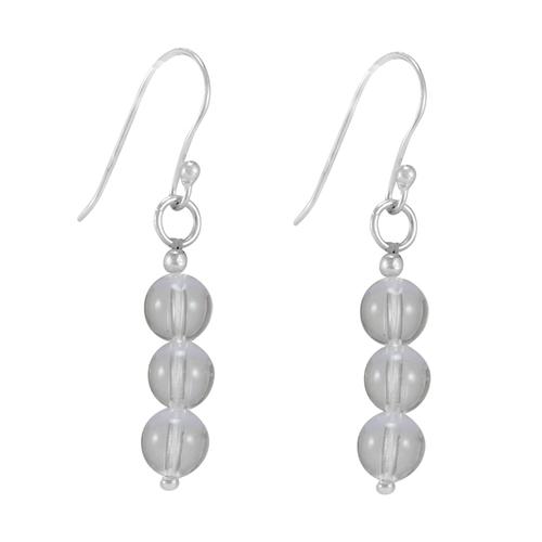 White Crystal Quartz, Handmade Jewelry Manufacturer 3 Stone Set, 925 Sterling Silver Dangle Earring Jaipur Rajasthan India
