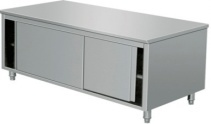 SS Table with Sliding Door