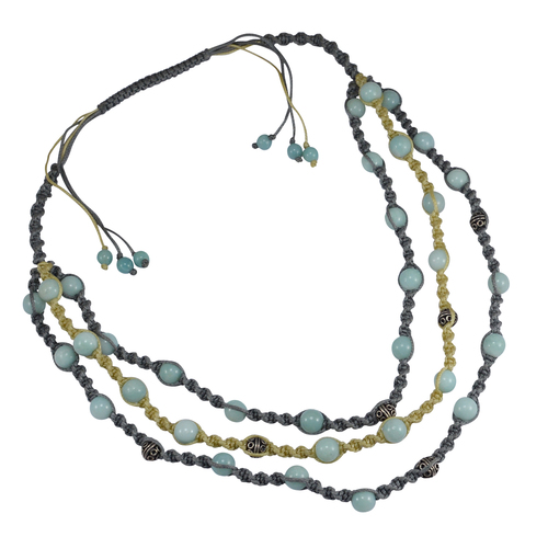 Handmade Jewelry Manufacturer 925 Sterling Silver, Round Beaded Blue Amazonite, 3 Line With Grey & Yellow Cord Jaipur Rajasthan India