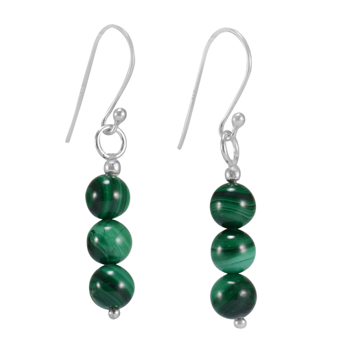 Handmade Jewelry Manufacturer 6mm 3 Stone Set Green Malachite,  Jaipur Rajasthan India 925 Sterling Silver, Small Earring