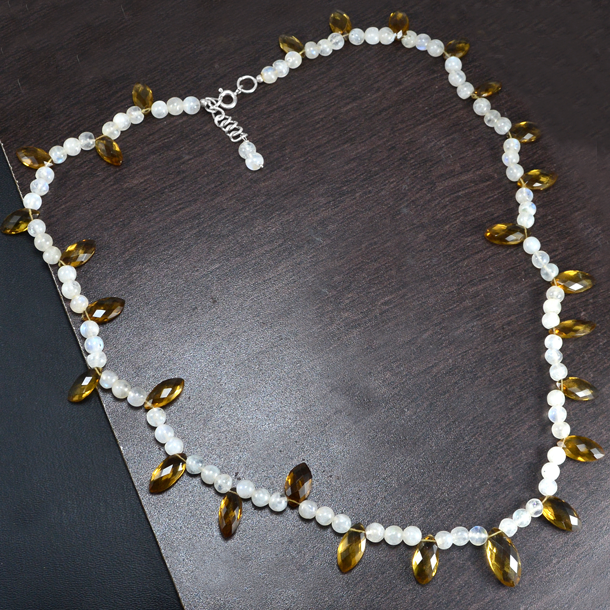 Handmade Jewelry Manufacturer Beaded Round Rainbow Moonstone & Marquise Honey Quartz 925 Sterling Silver Necklace Jaipur Rajasthan India