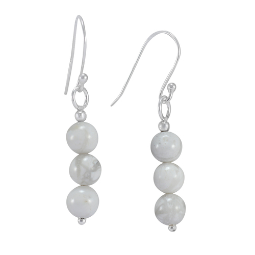 925 Sterling Silver, Handmade Jewelry Manufacturer Fashion Beaded Howlite, Tiny Dangle Earring Jaipur Rajasthan India