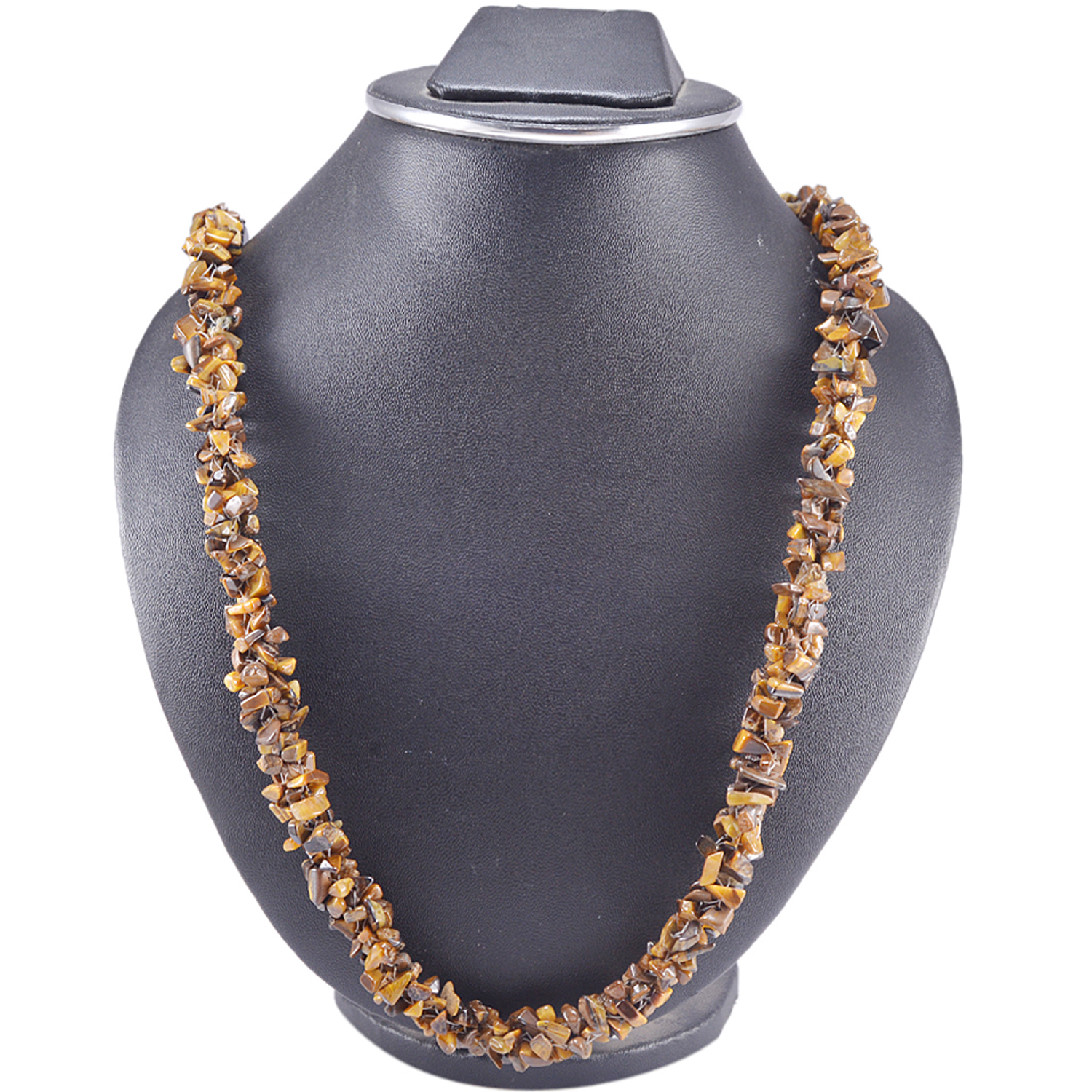 Handmade Jewelry Manufacturer 925 Sterling Silver 1 Strand Small Uncut Tiger's Eye Chips Necklace Jaipur Rajasthan India