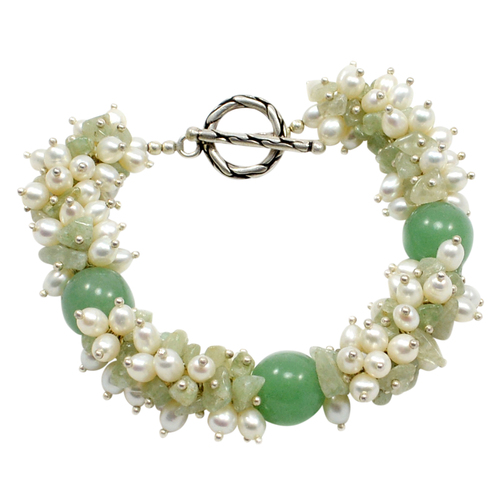 Handmade Jewelry Manufacturer Round Green Quartz  & Pearl, 925 Sterling Silver, Jade May Birthstone Bracelet Jaipur Rajasthan India