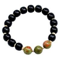 Handmade Jewelry Manufacturer Unakite Black Wood Beads Bracelet-Boho Gemstone 925 Sterling Silver  Yoga Stacking-Layering-Chakra-Reiki Healing Bracelet Jaipur Rajasthan India