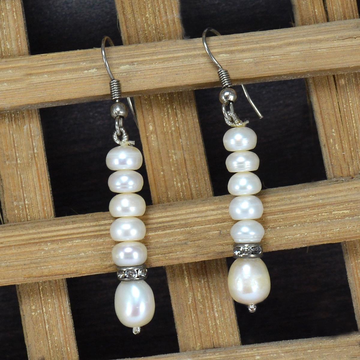 Handmade Jewelry Manufacturer Beaded Pearl Fish Hook Designer Earring, 925 Sterling Silver, Silver Tone Earring Jaipur Rajasthan India