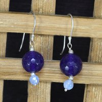 Handmade Jewelry Manufacturer Amethyst & Chalcedony 925 Sterling Silver - Fish Hook - Round Shape Earring Jaipur Rajasthan India