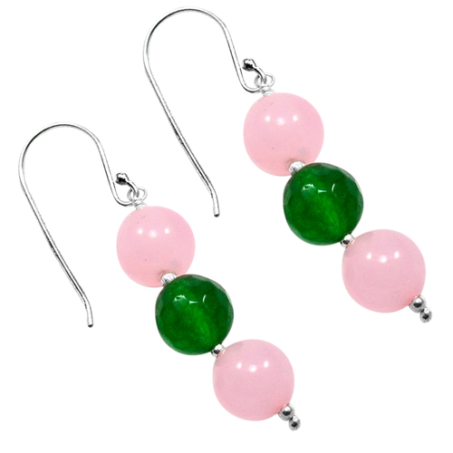 Handmade Jewelry Manufacturer Special Round Shape 3 Stone Rose Quartz & Green Quartz, 925 Sterling Silver Dangle Earring Jaipur Rajasthan India