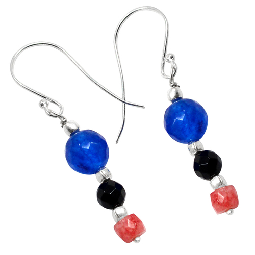 Handmade Jewelry Manufacturer Black Onyx, Pink Quartz & Blue Quartz - Wire - 925 Sterling Silver- Round And Faceted Beads Earring Jaipur Rajasthan India
