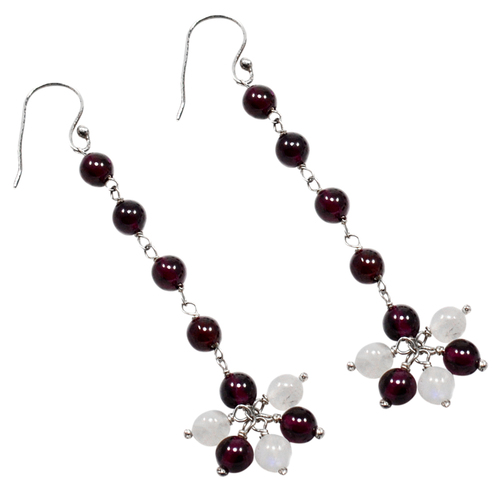Handmade Jewelry Manufacturer January Birthstone Beaded Garnet With Rainbow Moonstone 925 Sterling Silver Dangle Earring Jaipur Rajasthan India