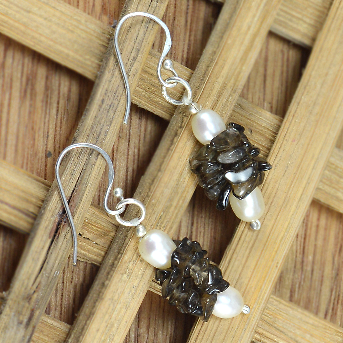 Handmade Jewelry Manufacturer Chips Smoky Quartz & Pearl 925 Sterling Silver Wire-Wrapped Dangle Earring Jaipur Rajasthan India