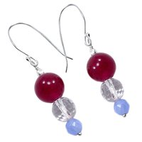 Handmade Jewelry Manufacturer 3 Stone Set Pink, Blue & Crystal Quartz Dangle Earring In 925 Sterling Silver Jaipur Rajasthan India