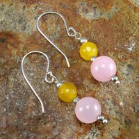 Handmade Jewelry Manufacturer 925 Sterling Silver, 2 Stone Round Beads, Rose Quartz & Yellow Quartz Dangle Earring Jaipur Rajasthan India