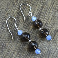 Handmade Jewelry Manufacturer Round Beaded Smoky Quartz & Chalcedony , 925 Sterling Silver, wire-wrapped Dangle Earring Jaipur Rajasthan India