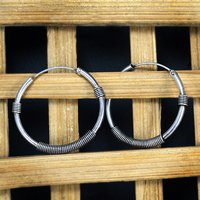 Handmade Jewelry Manufacturer 925 Sterling Silver, Round Hoop Silver Earring Jaipur Rajasthan India