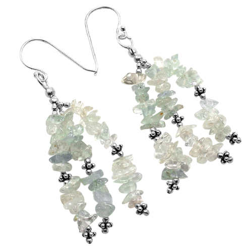 Handmade Jewelry Manufacturer Light Blue March Birthstone Aquamarine Chips Free Size, 925 Sterling Silver, Dangle Earring Jaipur Rajasthan India