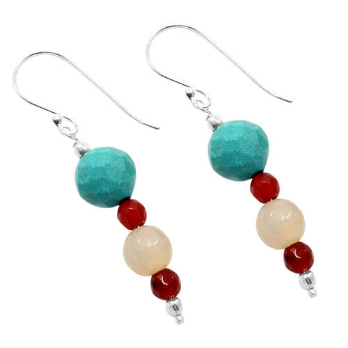 Handmade Jewelry Manufacturer 925 Sterling Silver- 4 To 9mm Turquoise- Chalcedony & Red Onyx- Fish-hook Earring Jaipur Rajasthan India