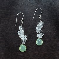 Handmade Jewelry Manufacturer Small 10x10 Chalcedony , 925 Sterling Silver, Chips Crystal Quartz, Dangle & Drop Earring Jaipur Rajasthan India