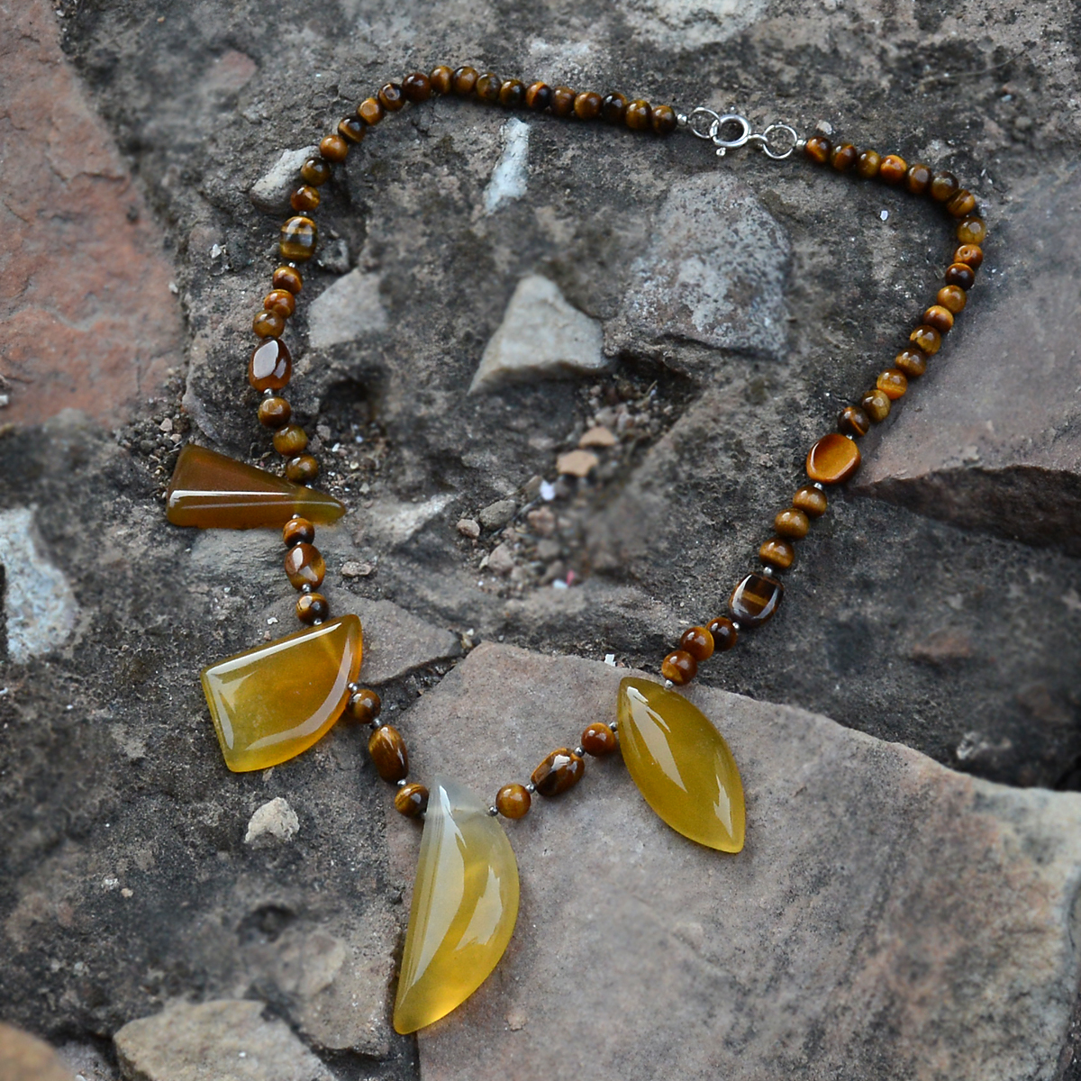 Handmade Jewelry Manufacturer 925 Sterling Silver, Beaded Tiger Eye & Yellow Onyx, Spring Ring Hook Necklace Jaipur Rajasthan India