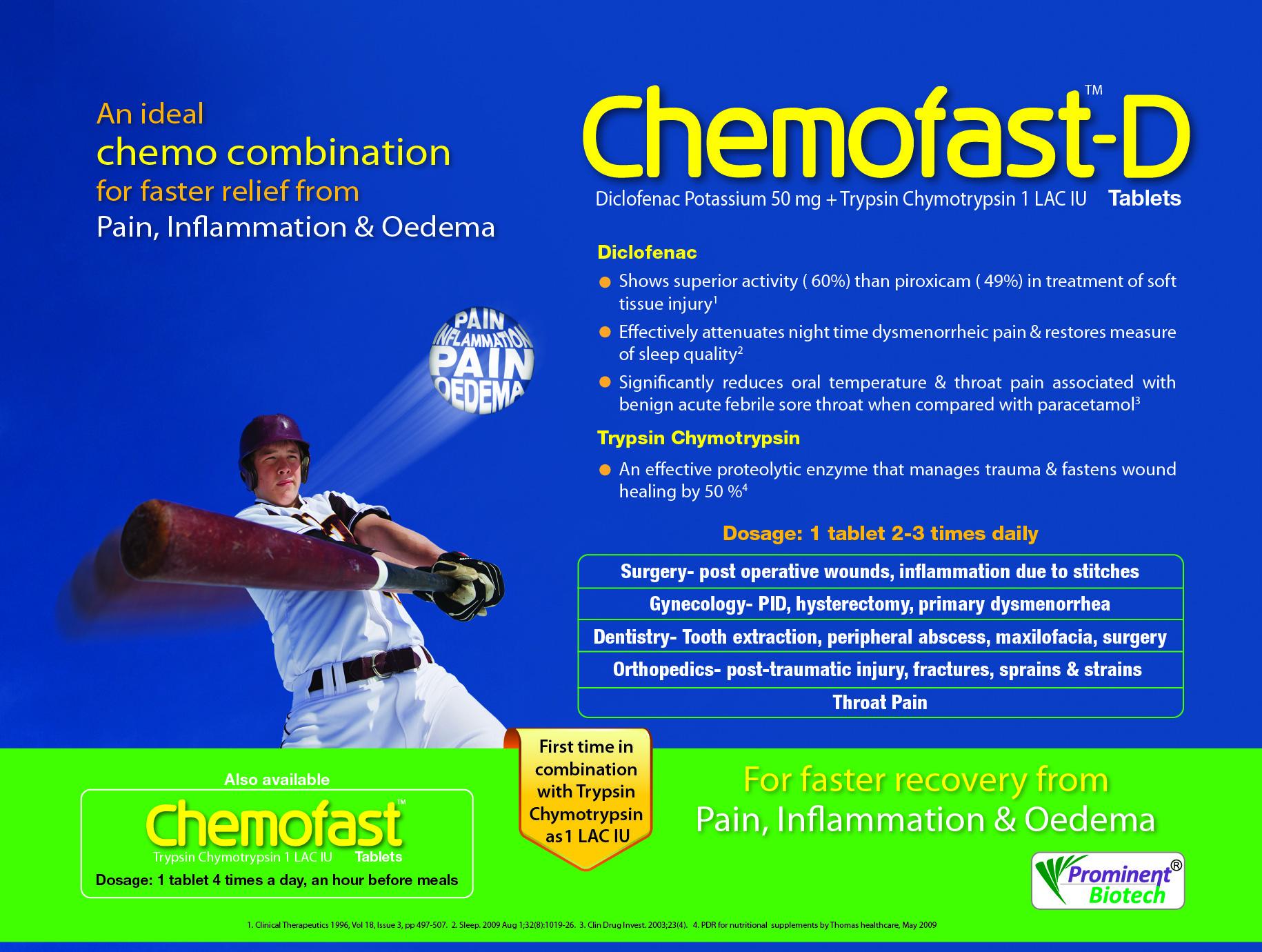 Diclofenac Potassium 50 mg & Trypsin-Chymotrypsin 1,00,000 IU Tablets